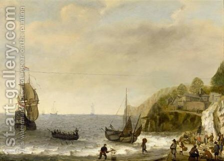 Seascape With Fisherfolk On A Beach by Isaac Willaerts - Reproduction Oil Painting