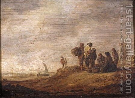 A Coastal Landscape With Fisherfolk Gathered In The Foreground, A Tower Beyond by (after)  Jan Van Goyen - Reproduction Oil Painting