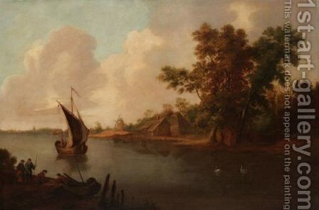 River Landscape With Fishermen Unloading Their Nets In The Foreground, A Hamlet Beyond by Dutch School - Reproduction Oil Painting