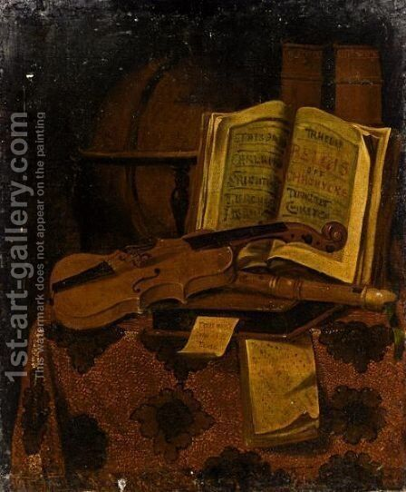 Still Life With A Violin by (after) Edwart Collier - Reproduction Oil Painting