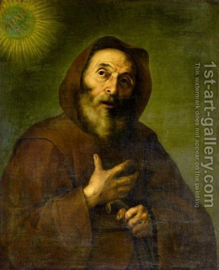 Saint Francesco Di Paola 2 by (after) Jusepe De Ribera - Reproduction Oil Painting