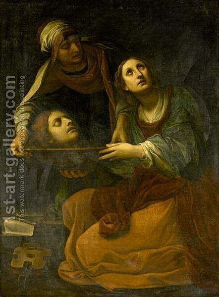 Saint Cecilia With The Head Of Saint Valerius by (after) Alessandro Tiarini - Reproduction Oil Painting