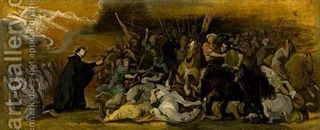 Religious Scene With A Domenican Saint Interceding In A Battle by Italian School - Reproduction Oil Painting