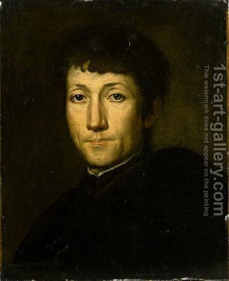 Portrait Of A Gentleman, Head And Shoulders, Wearing Black by (after) Giacomo Ceruti (Il Pitocchetto) - Reproduction Oil Painting