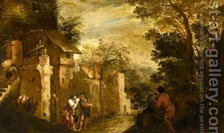 Landscape With The Expulsion Of Hagar And Ishmael by (after) Antonio Travi - Reproduction Oil Painting