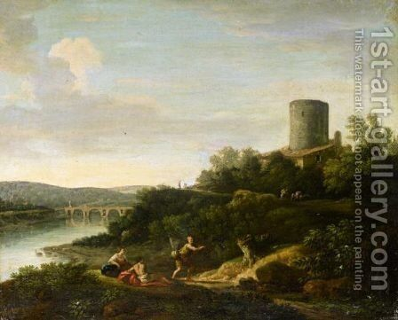 An Italianate Landscape With Figures In The Foreground by (after) Jan Frans Van Orizzonte (see Bloemen) - Reproduction Oil Painting