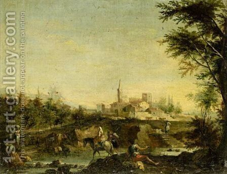 Italianate Landscape With Figures Beside A River, A Town Beyond by (after) Giuseppe Zais - Reproduction Oil Painting