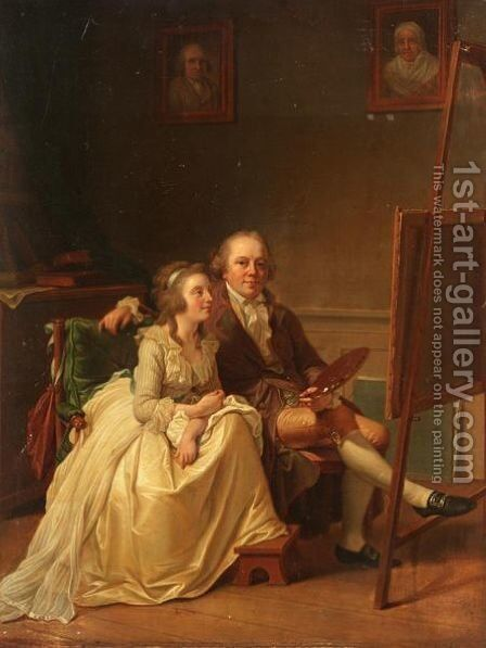 Self Portrait Of The Artist And His Wife, Rosine Doschel, Both Seated At An Easel by (after) Jens Juel - Reproduction Oil Painting