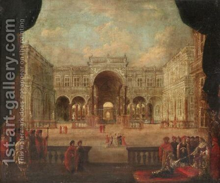 A Palace Capriccio Scene With Esther Before Ahasuerus by (after) Jacobus Saeys - Reproduction Oil Painting