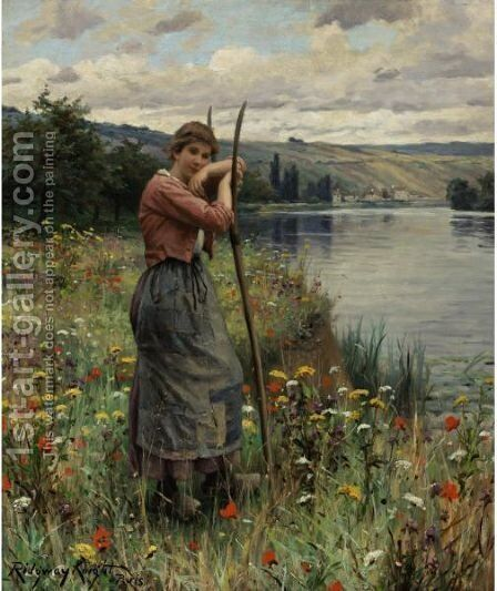 A Moment Of Repose by Daniel Ridgway Knight - Reproduction Oil Painting