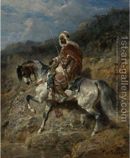 An Arab Horseman by Adolf Schreyer - Reproduction Oil Painting