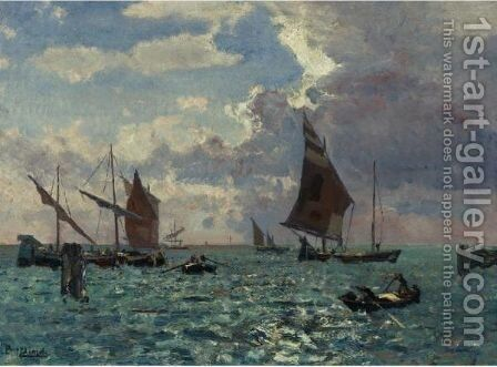 Boats In The Wind Of A Venetian Lagoon by Beppe Ciardi - Reproduction Oil Painting