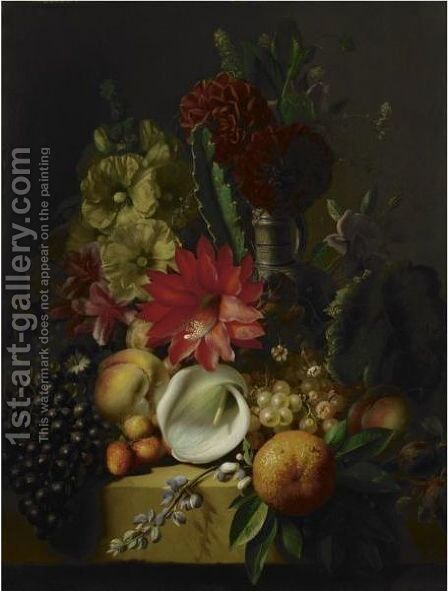 Flowers And Fruit On A Ledge by Jean-Baptiste Robie - Reproduction Oil Painting