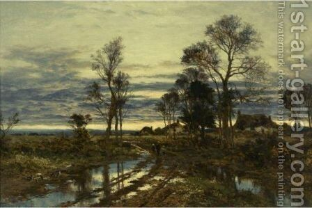 A Wet Roadside by Benjamin Williams Leader - Reproduction Oil Painting