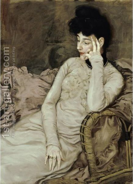 Lost In Thought by Henry Caro-Delvaille - Reproduction Oil Painting
