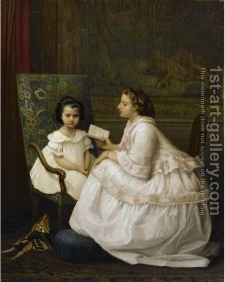 The Lesson by Auguste Toulmouche - Reproduction Oil Painting