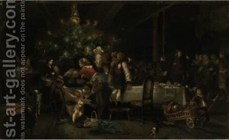 A Christmas Party by Anton Heinrich Dieffenbach - Reproduction Oil Painting