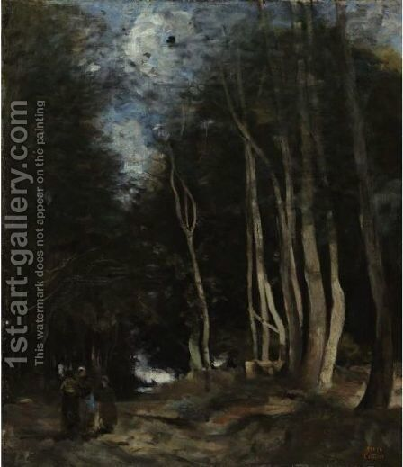 Ville D'Avray, Une Allee Dans Les Bois by Jean-Baptiste-Camille Corot - Reproduction Oil Painting