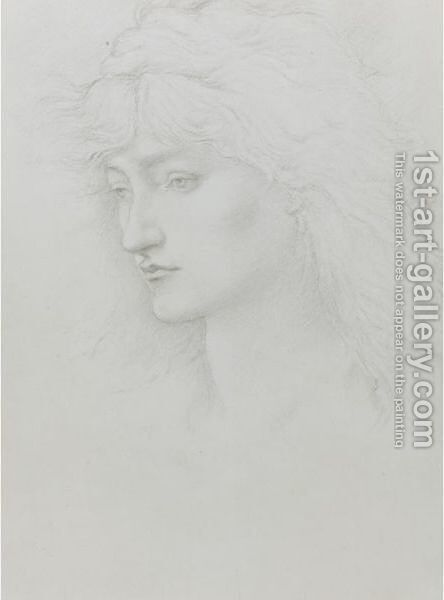 Head Study From The Perseus Series by Sir Edward Coley Burne-Jones - Reproduction Oil Painting