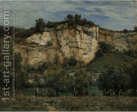The Cliffs Of Rochecorbon, Near Tours by Charles Euphraisie Kuwasseg - Reproduction Oil Painting