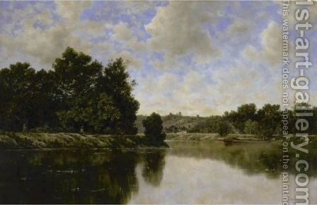 The River Bank by Claude-Francois-Auguste Mesgrigny - Reproduction Oil Painting