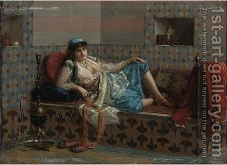 An Arab Beauty With Her Hookah by Jan Baptist Huysmans - Reproduction Oil Painting