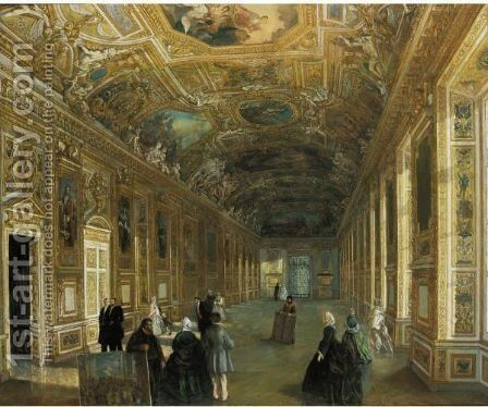 The Galerie D'Apollon At The Musee Du Louvre by Armand Julien Palliere - Reproduction Oil Painting