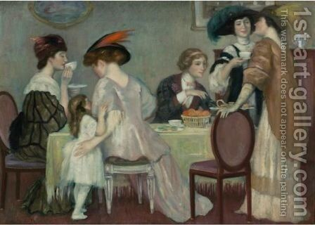 Teatime by Henry Caro-Delvaille - Reproduction Oil Painting