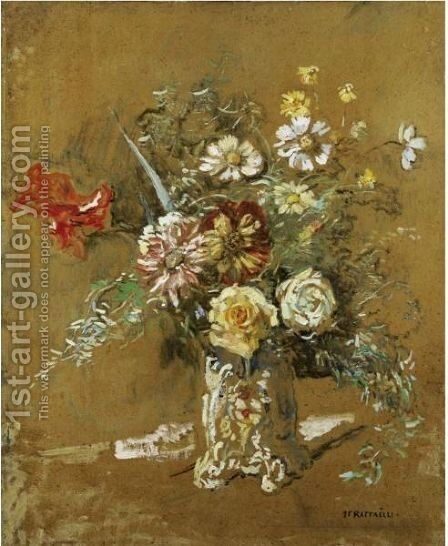 Bouquet Of Flowers by Jean-Francois Raffaelli - Reproduction Oil Painting