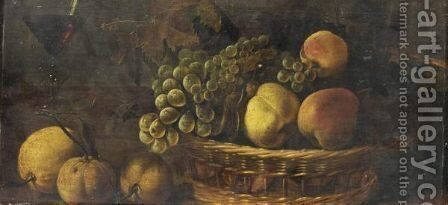 Nature Morte A La Corbeille De Fruits by Ecole Francaise, Xixeme Siecle - Reproduction Oil Painting