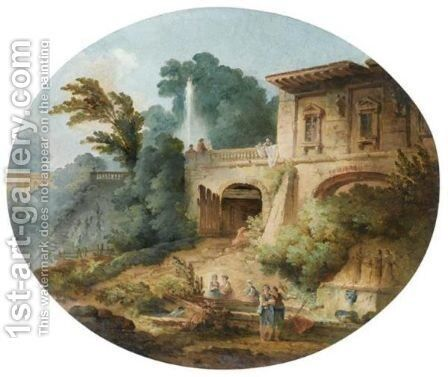 Scenes Animees Dans Un Parc by (after) Hubert Robert - Reproduction Oil Painting