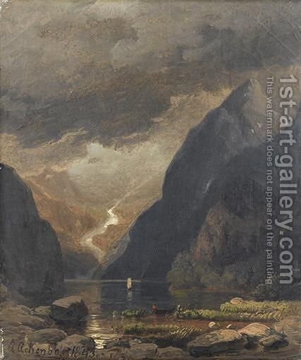 Le Rigi-Rothstock Pres Du Lac Des Quatre Cantons (Suisse) by Andreas Achenbach - Reproduction Oil Painting