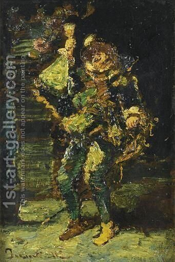 Homme Tenant Un Verre by Adolphe Joseph Thomas Monticelli - Reproduction Oil Painting