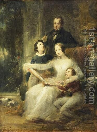 Portrait De Famille by Achille-Jacques-Jean-Marie Deveria - Reproduction Oil Painting
