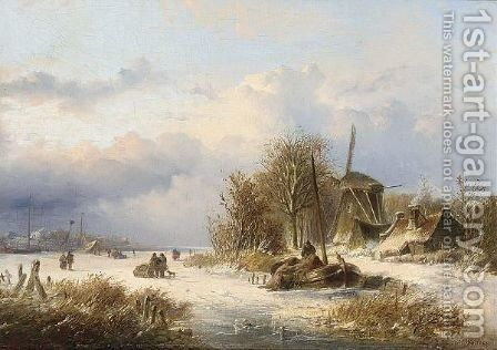A Windmill In A Winter Landscape by Nicolaas Martinus Wijdoogen - Reproduction Oil Painting