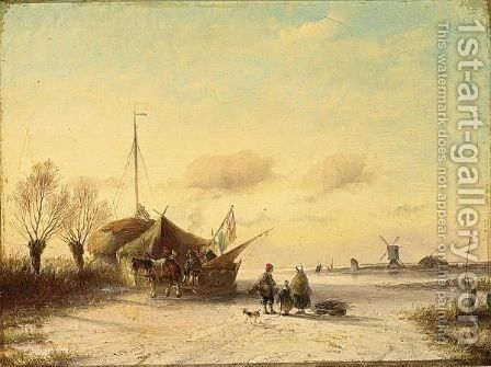 Figures On A Frozen Waterway by Jan Evert Morel - Reproduction Oil Painting