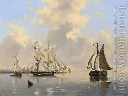 Sailing Vessels Near A Town by Govert Van Emmerik - Reproduction Oil Painting