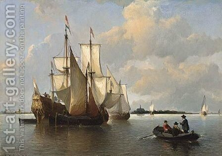 Sailing Vessels In A Calm, Haarlem In The Distance by Antonie Waldorp - Reproduction Oil Painting
