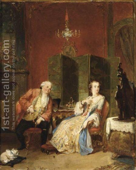 The Flirtation by David Bles - Reproduction Oil Painting