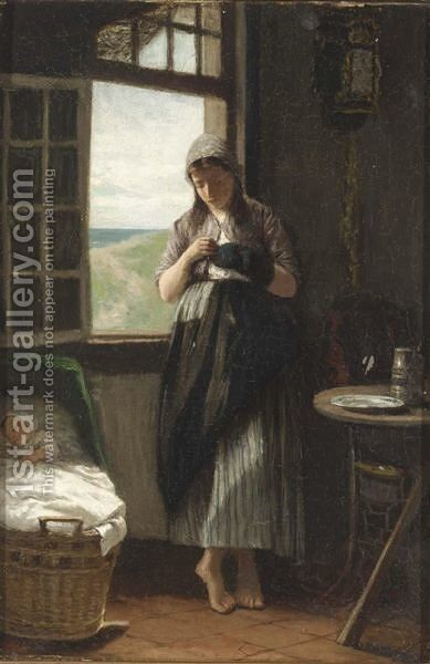 Household Duties by David Adolf Constant Artz - Reproduction Oil Painting