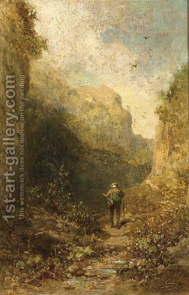 A Hunter In A Mountainous Landscape by Carl Spitzweg - Reproduction Oil Painting