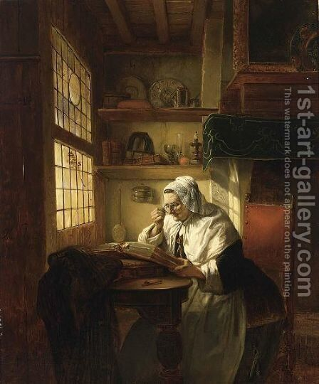An Interesting Read by Baron Jan August Hendrik Leys - Reproduction Oil Painting