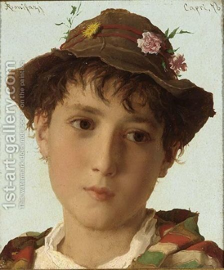 A Young Shepherd by Adriano Bonifazi - Reproduction Oil Painting