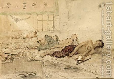 Opium Smokers In Indo-China by Marius Bauer - Reproduction Oil Painting