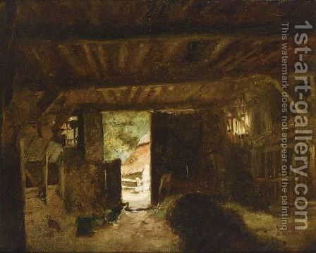 A Barn Interior by Jacob Henricus Maris - Reproduction Oil Painting