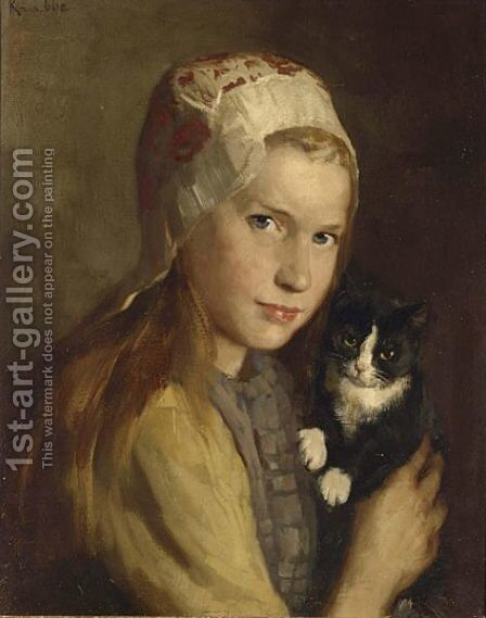 A Girl With Her Cat by Hendrik Maarten Krabbe - Reproduction Oil Painting