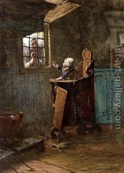 A Peek Through The Window by Bernardus Johannes Blommers - Reproduction Oil Painting