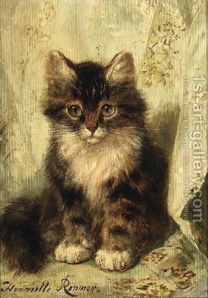 A Musing Kitten by Henriette Ronner-Knip - Reproduction Oil Painting
