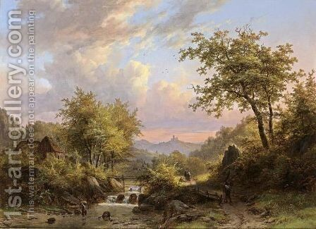 Figures In A Mountainous Landscape by Johann Bernard Klombeck - Reproduction Oil Painting