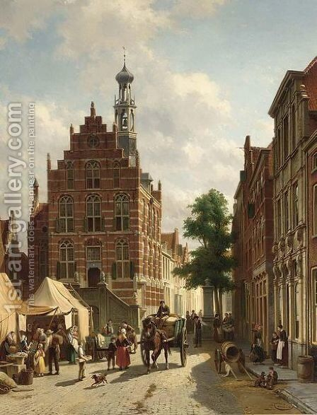 A Busy Street In Culemborg by Jacques Carabain - Reproduction Oil Painting
